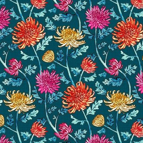 Chrysanthemum Watercolor & Pen Pattern - Navy - Small Scale