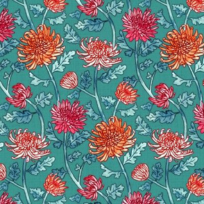 Warm Chrysanthemum Watercolor & Pen Pattern - Teal Green - Small Scale