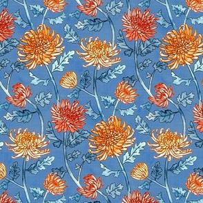 Chrysanthemum Watercolor & Pen Pattern - Cornflower Blue  - Small Scale