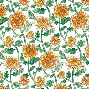 Yellow Chrysanthemum Watercolor & Pen Pattern - Small Scale