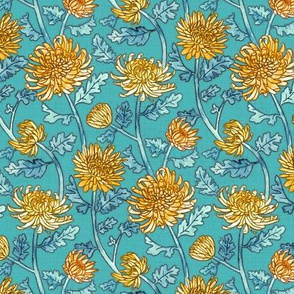 Yellow Chrysanthemum Watercolor & Pen Pattern - Blue - Small Scale