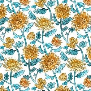 Yellow Chrysanthemum Watercolor & Pen Pattern - White - Small Scale