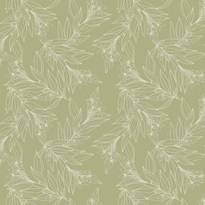 Le jardin botanique. Minimalistic lines on light green. Delicate outline leaves. Bergamot leaves