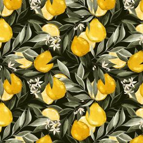 Le jardin botanique. Yellow Bergamot. Citrus Fruits. Moody botanical pattern