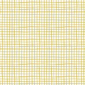 White and yellow minimalistic check. Irregular lines