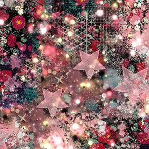 Abstract Floral Rose Galaxy