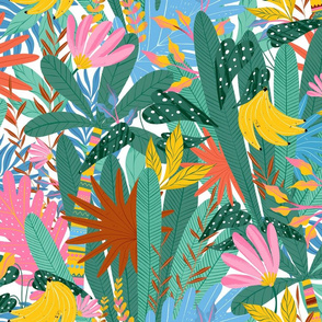 Jungle leaves. Tropical summer pattern