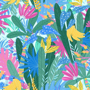 Bright jungle leaves. Tropical summer pattern