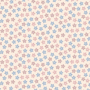 Tiny pink and blue flowers on beige. Spring summer pattern.