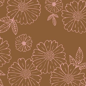 Romantic flower blossom flowers and leaves garden design neutral summer stone brown pinkLARGE