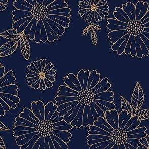 Romantic flower blossom flowers and leaves garden design neutral summer navy blue golden LARGE