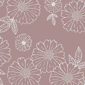 Romantic flower blossom flowers and leaves garden design neutral summer dark mauve berry LARGE
