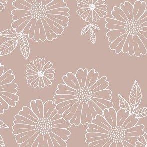 Romantic flower blossom flowers and leaves garden design neutral summer mauve blush moody pink LARGE