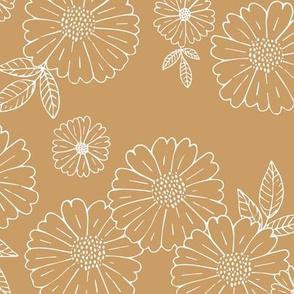Romantic flower blossom flowers and leaves garden design neutral summer seventies cinnamon ochre camel LARGE