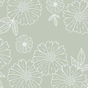 Romantic flower blossom flowers and leaves garden design neutral summer mist green LARGE