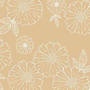 Romantic flower blossom flowers and leaves garden design neutral summer camel beige sand  LARGE