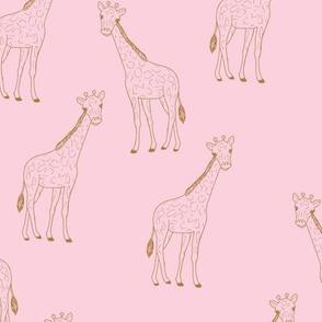 Little giraffe minimalist style illustration wild life cinnamon on pink