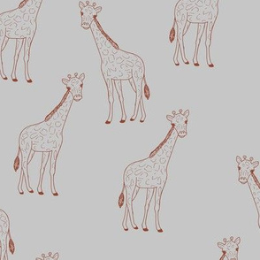 Little giraffe minimalist style illustration wild life stone red on gray