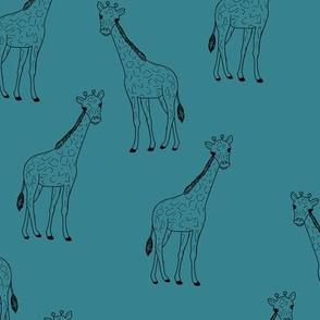 Little giraffe minimalist style illustration wild life teal blue black