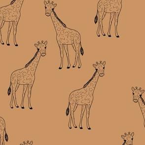 Little giraffe minimalist style illustration wild life cinnamon brown burnt sienna black