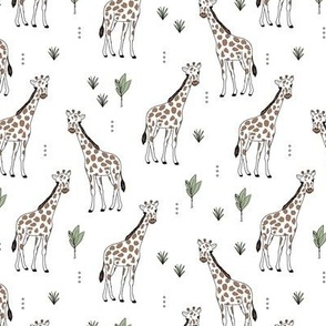Little giraffe and leaves minimalist style illustration wild life green brown on white