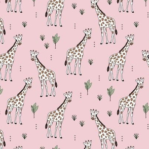 Little giraffe and leaves minimalist style illustration wild life green brown on pink