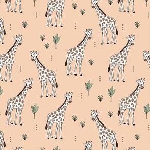 Little giraffe and leaves minimalist style illustration wild life green brown on peach blush