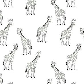 Little giraffe and spots minimalist style illustration wild life mist green black outline on white