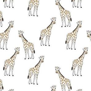 Little giraffe and spots minimalist style illustration wild life camel yellow black outline on white