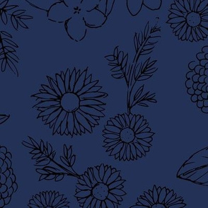 Little sketched wild flowers outline garden boho daffodil daisies and hydrangea flowers and leaves spring nursery indigo navy blue night