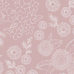 Little sketched wild flowers outline garden boho daffodil daisies and hydrangea flowers and leaves spring nursery mauve dusty pink rose