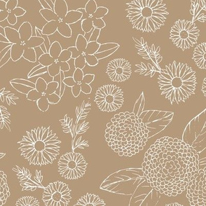 Little sketched wild flowers outline garden boho daffodil daisies and hydrangea flowers and leaves spring nursery caramel latte brown