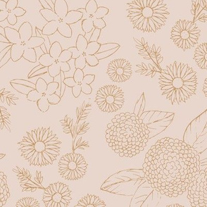 Little sketched wild flowers outline garden boho daffodil daisies and hydrangea flowers and leaves spring nursery cream gold cinnamon