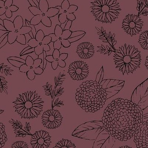 Little sketched wild flowers outline garden boho daffodil daisies and hydrangea flowers and leaves spring nursery maroon berry black