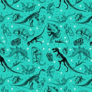 Dinosaur Skeletons and Sketches, Teal Blue Green with Stars