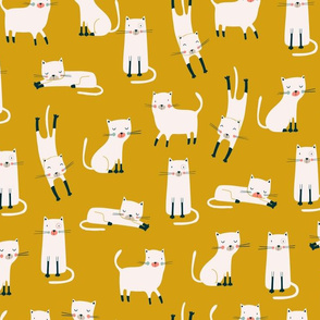White cats in a yellow background