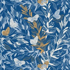 Ginger flowers on blue