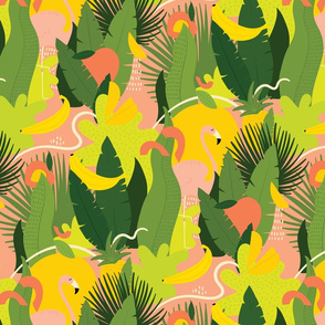 Tropical summer pattern with green leaves, fruits, and flamingos