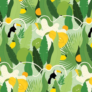 Tropical summer pattern with fruits and toucans