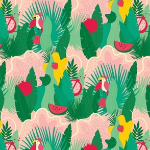 Tropical summer pattern with fruits and parrots