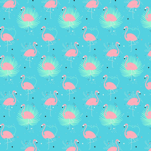 Pink flamingo with palm leaves and hearts on a bright turquoise
