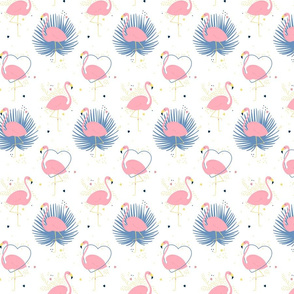 Pink flamingo with palm leaves and hearts on white