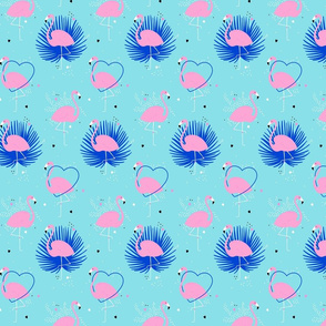 Pink flamingo with palm leaves and hearts on turquoise background