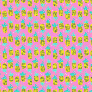 Bright pineapple on a pink background