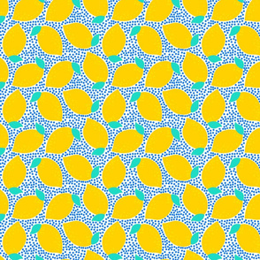Bright yellow lemons on white with blue dots