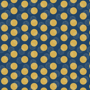 Abstract gold and white dots on dark blue. Polka dots