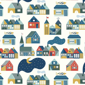 Scandinavian dream on light beige. Hygge houses