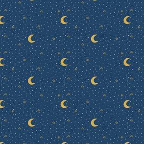 Night sky. Golden moons and stars on dark blue