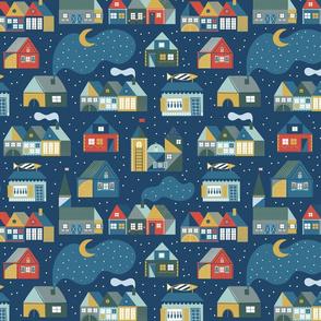 Scandinavian dream on the dark blue. Hygge houses with night sky