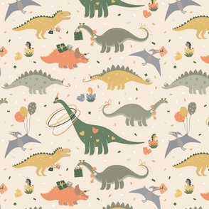 Dino's Party. Dinosaurs and confetti on beige. Birthday party
